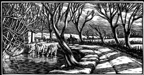 wood-engraving original print: March for Time and Tide calendar